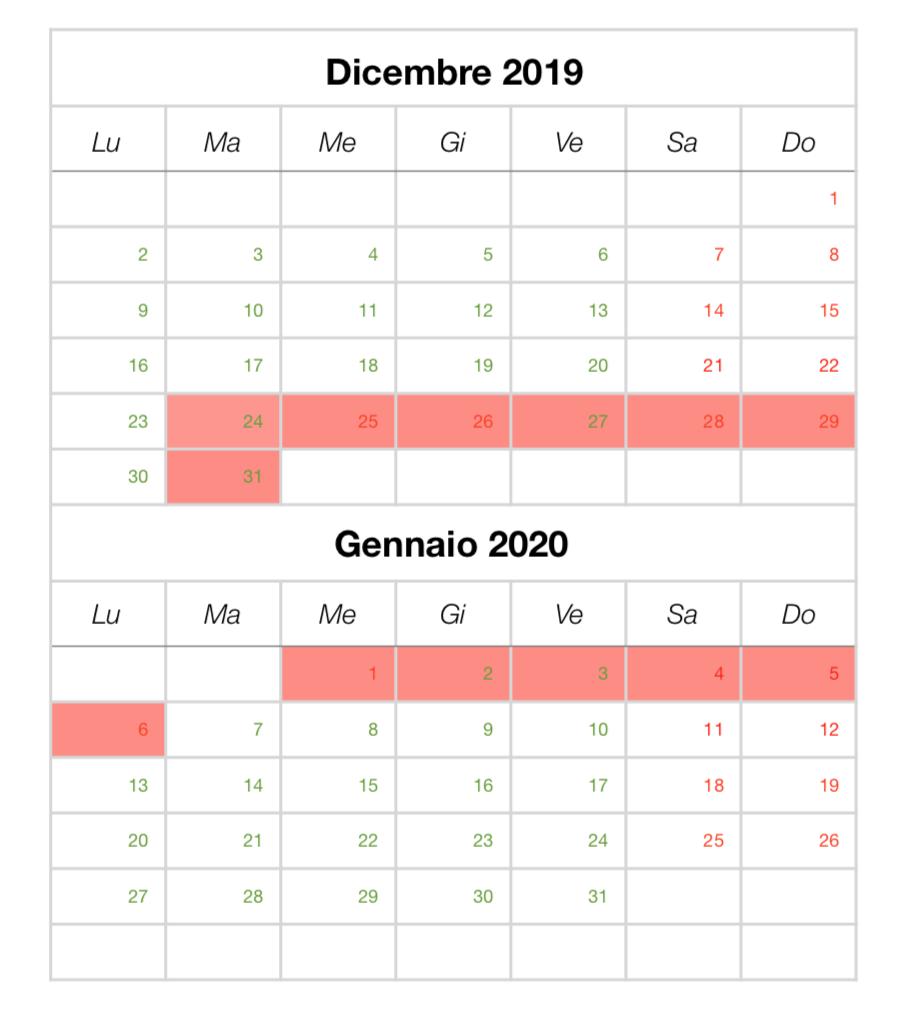 Calendario ferie invernali 2019