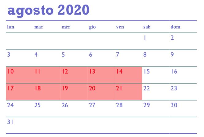 Ferie estive 2020